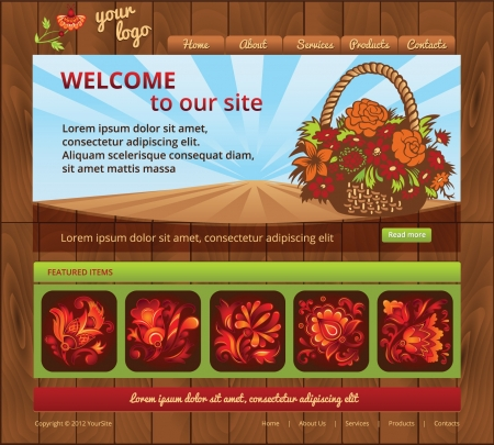 web template for a garden or agro business with wood background and flower