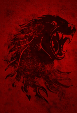 Monster Wolf on the grunge red background photo