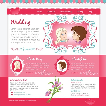 Pink Wedding Website template with illustrations  Vector