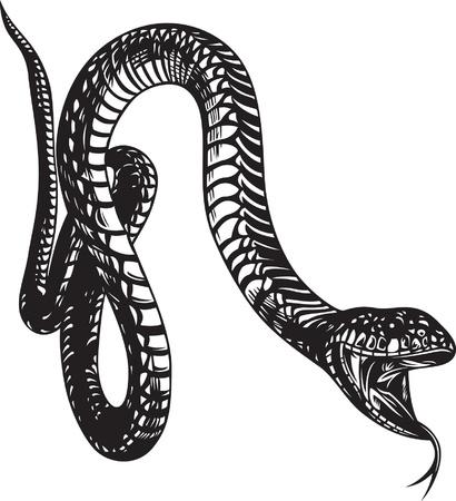 Grote slang met open mond, zwart-wit stijl