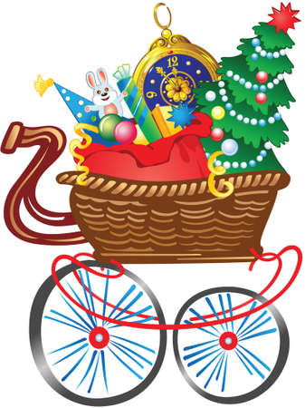 Cartoon shopping cart full of Christmas gifts Vector