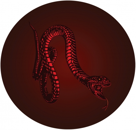 fiery red monster snake with open mouth Vector