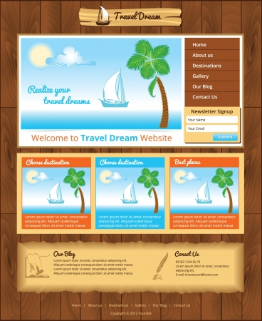 retro template for sea travel website Stock Vector - 17170483