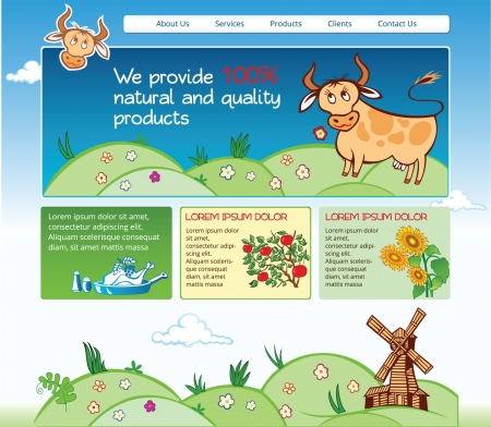 Web template for agricultural business with cartoon illustrations