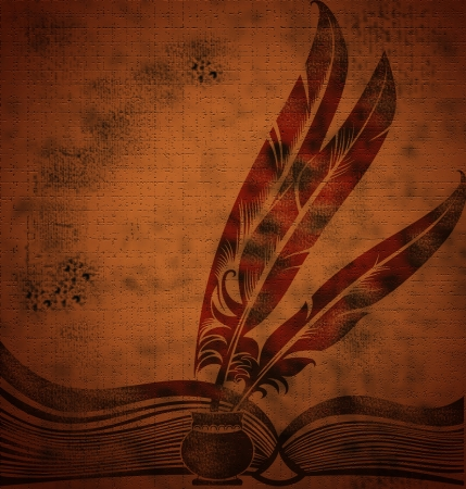 author: grunge vintage background with old book and feather Stock Photo