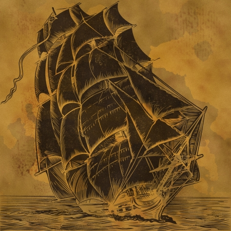 tall ship: Vintage background with old sail ship