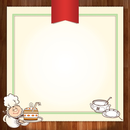 soup spoon: Culinary menu template design with chef