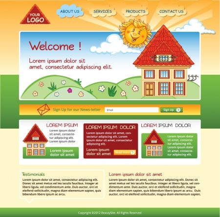 House template with illustrations for website