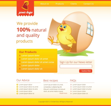web template with chicken for agricultural business  Vector
