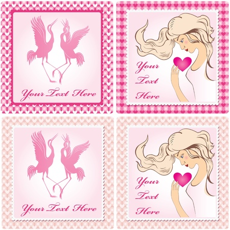 Set of valentine�s pink cards with illustrations Stock Vector - 17541202