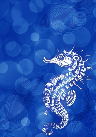 hippo campus: Blue marine background with Sea horse Stock Photo