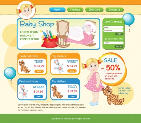 baby shop web template Vector