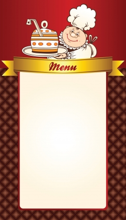 Cafe menu template design with chef Vector