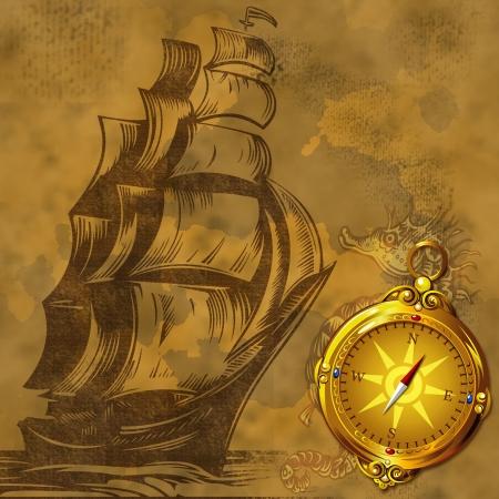 caravelle: fond vieux bateau de cru avec la boussole d'or antique
