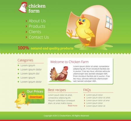 web eco green template with chicken
