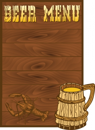 beer card: Beer menu template with illustrations