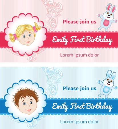 baby announcement: Baby Birthday Card for Girl and Boy Illustration