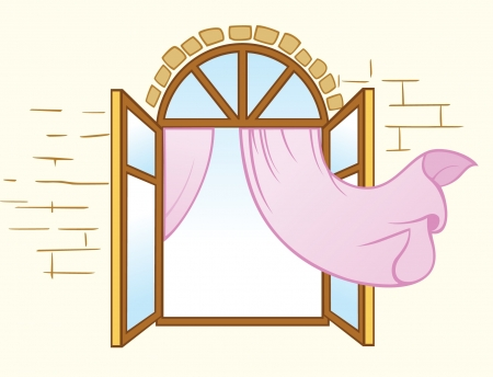 cartoon window: Wooden opening window with pink curtains