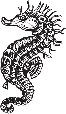 pez vela: Sea horse, estilo blanco y negro Vectores