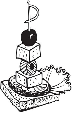 meringue: Doodle canape, black and white illustration Illustration