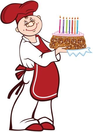 Cartoon cook with birthday cake Stock Vector - 19534681