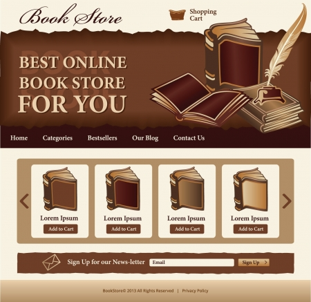 Book Store template for website Vector