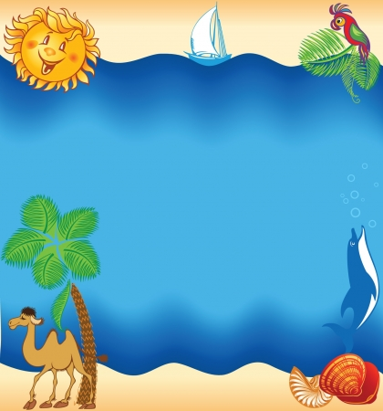 Summer sea beach background, travel concept Vector