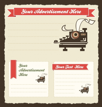 Retro Advertisement Template with old-fashioned typewriter Illustration
