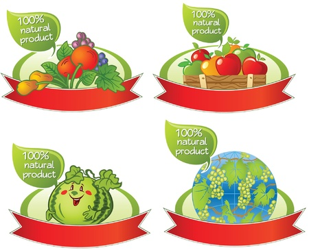 Set of healthy food banners Vector