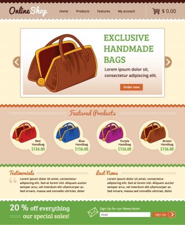 Design template for retail online shop website Illustration