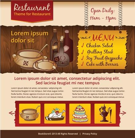 Cafe website design template Stock Vector - 21851988