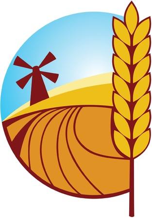 produits céréaliers: Label agricole avec épi de blé et Mill Illustration