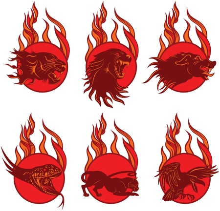 Set of Fire Animal Emblem Stock Vector - 22606087