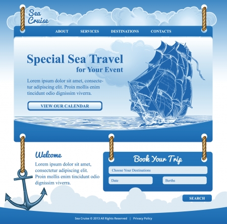 Web Template for Sea Cruise Theme Illustration