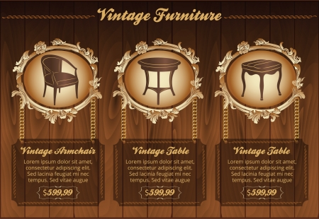 Vintage furniture flyer Vector