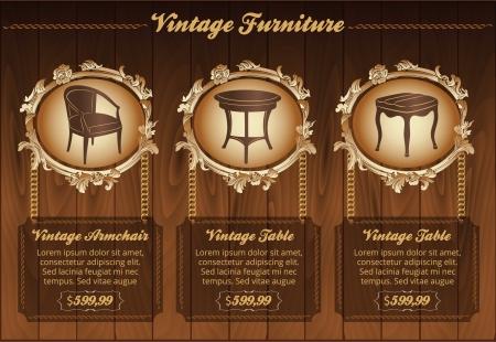luxury furniture: Vintage furniture flyer Illustration