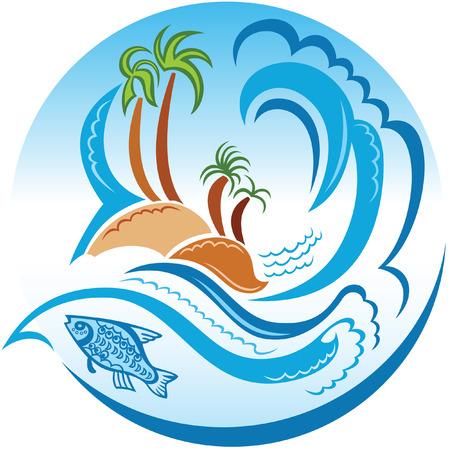 underwater scene: Concept illustration of Tropic Island