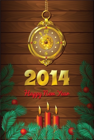 New Year Background with retro clock and candles  Vector