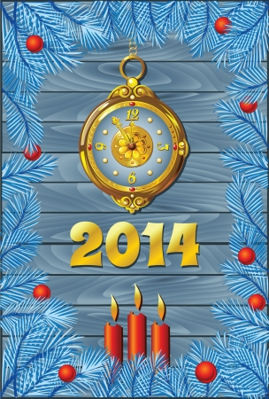Christmas Blue Background with Retro Clock Vector