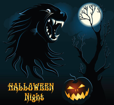 Cartoon Halloween Background with Wild Wolf Vector