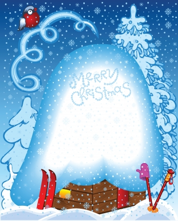 Winter Snow Christmas Background with House Vector