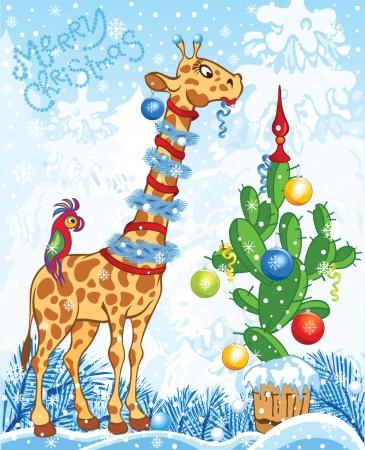 Christmas card with cartoon giraffe and cactus