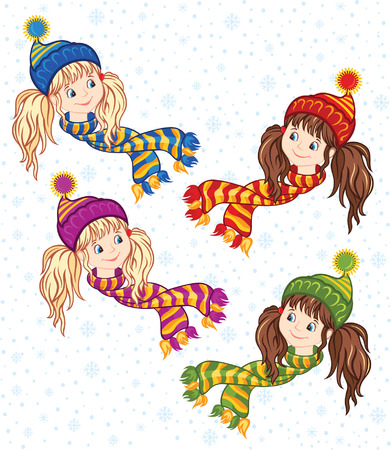 Winter little girl in a knitted cap and scarf Illustration