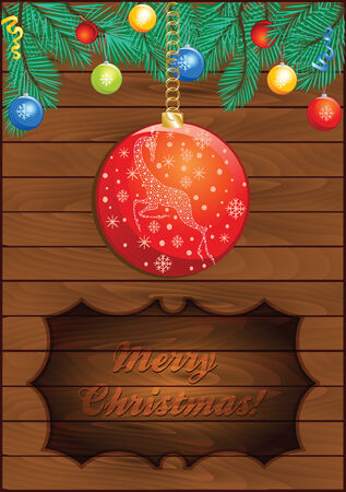 Christmas Wooden Background with Magic Ball Vector