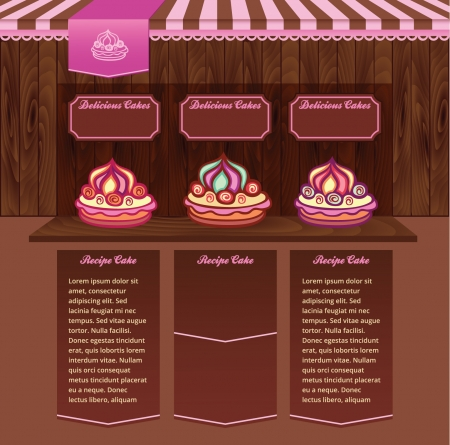 Template for Cake Recipes Web site Vector