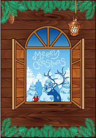 Christmas wooden background with old window and christmas deer Vector