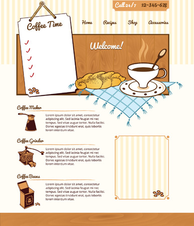 Coffee theme for website  Vector