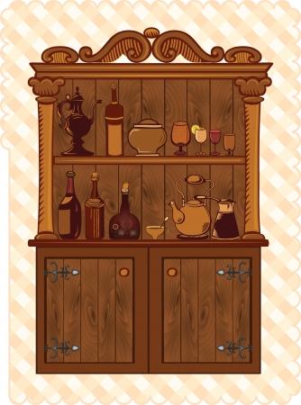 Armoire de cru avec de la vaisselle et des bouteilles Vecteurs