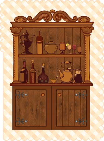old furniture: Vintage Cupboard with crockery and bottles