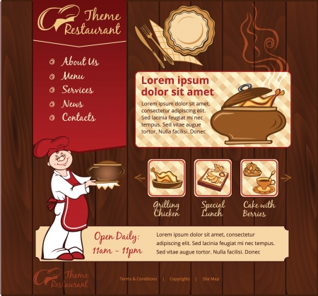 Restaurant wood web template with chief Vector